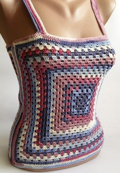 This is stylish Womens crochet sexy top. This is an original and unusual design. Youll be irresistible and sexy. Made with love. 100% handmade.  Size: S chest - 75 - 86 cm. waist - 60 - 70 cm. . Material: 100% microfiber Color: multicolor  *Please bear in mind that photo may slightly different from actual item in terms of color due to the lighting during photo shooting or the monitors display.  *Like it? Come to my shop :) https://www.etsy.com/shop/ElenaVorobey?ref=si_shop