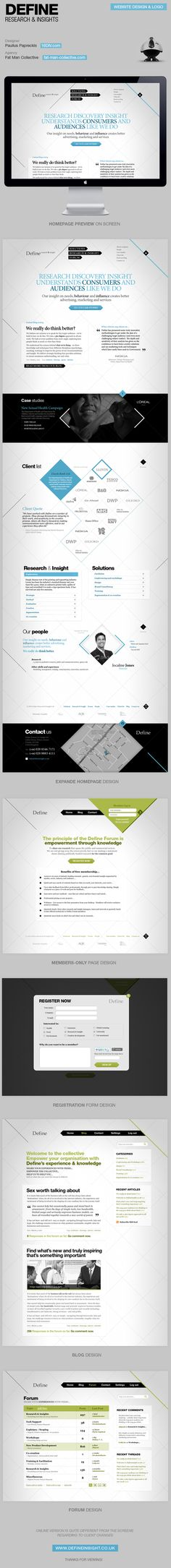 Define research & insights web design by Paulius Papreckis, via Behance