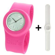 Montre Bill s Watches Classic - Coffret duo bracelet slap silicone - Montre  mixte avec cadran blanc interchangeable  Bill s  Amazon.fr  Montres 67a9247a3ad4