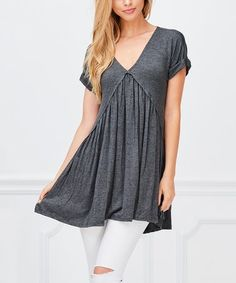 Loving this Charcoal Ruffle-Accent V-Neck Tunic on #zulily! #zulilyfinds