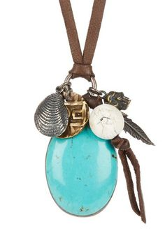 True Religion Leather Necklace with Turquoise Pendant & Charms