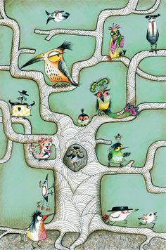 Køb Sofie Børsting: Bird tree mint green 43x61 cm. her - Mimi´s Circus