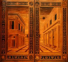 Particolare dello Studiolo del Duca Federico da Montefeltro. Palazzo Ducale Urbino_Foto di Paolo Bianchi Wooden Pattern, Italian Art, Renaissance Art, 15th Century, Wood Doors, Wood Paneling, Verona, Art And Architecture, Medieval