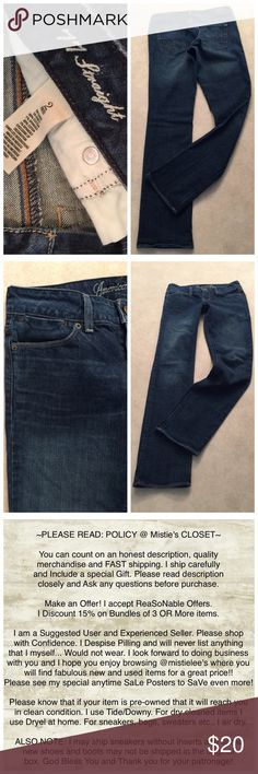 "AE 77 Straight Whiskered Front 2Regular Jean Made by: American Eagle Outfitters Size: 2 Reg. CA03873 77 Straight. Light Whisker on Front Legs. Medium Wash. Material: 99%Cotton/1%Spandex Measurements: Laid Flat across Waist 14.5"" Front Rise 7.25"" Inseam 31"" Laid Flat across Hem 7"". Jeans have some Minimal normal fade from wash. Excellent  condition. Please see my anytime Sale and Bundle offers to save you money! Thank you for browsing my closet. American Eagle Outfitters Jeans Straight Leg"
