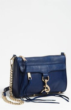 Rebecca Minkoff 'Mini M.A.C.' Shoulder Bag available at #Nordstrom- smaller version of the M.A.C. bag- in navy or almond! $195.00