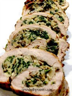 Mushroom Spinach Stuffed Pork Tenderloin substituted stovetop stuffing for panko, used this stuffing in pounded out boneless chicken thighs, coated with Dijon and homemade shake and bake. Baked for 1 hour 325 degrees Meat Recipes, Cooking Recipes, Healthy Recipes, Stuffed Pork Recipes, Cooking Ham, Cooking Beets, Spinach Recipes, Recipies, How To Cook Pork