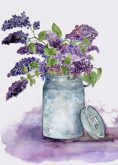Lilac in a Milk Churn by Alla Pimm. Watercolor Cards, Watercolor Flowers, Watercolor Paintings, Watercolors, Art Impressions, Botanical Art, Painting Inspiration, Art Pictures, Quilling