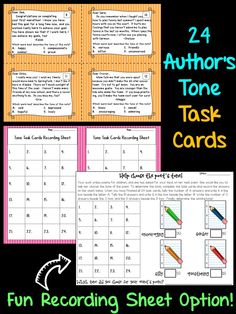 Authors Tone Task Cards- students read 24 short notes and identify the author's tone when writing the note. This set also comes with a fun recording sheet option!