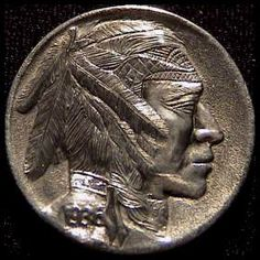 Steve Ellsworth (Early Carving) Indian Skull, Indian Theme, Hobo Nickel, Buffalo, Native American, Coins, Carving, Dibujo, Lockets