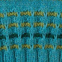 geweven boord / woven rib Strepen breien met afgehaalde steken / making stripes in a slipped stitch pattern