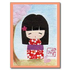 Cartão da boneca de Sakura Kokeshi Cartão Postal