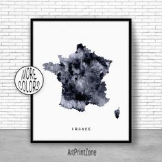 France Print Watercolor Map France Map Art Map Painting
