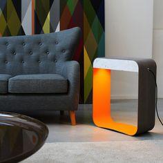 DesignHeure EAU DE LUMIERE - Lampa stojąca LED Szary/Pomarańczowy/Marmur Wys.66cm