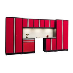 NewAge Pro Series 8-piece Cabinet Set with Stainless Steel Worktop (Red)