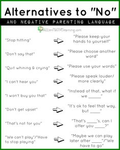Alternatives to saying no to kids even when disciplining and how to help kids understand what you want versus what you do not want.