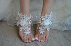 ivory flower Lace Barefoot Sandals Beach Wedding Barefoot Sandals Lace Wedding Shoes Beach Shoes Beach Sandals Lace Anklet Sandals Saten
