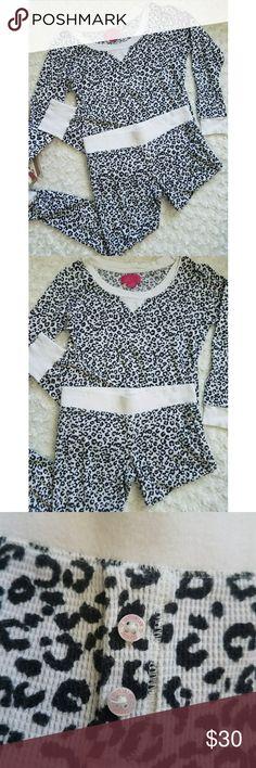 Victoria Secret Leopard Print Pajama Set Comfy Pj set. Size S. White elastic cuffs on wrist and ankles. Good used condition. Victoria's Secret Intimates & Sleepwear Pajamas