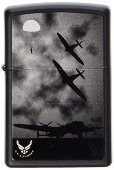 Zippo Pocket Lighter Air Force Windproof Lighter, Black Matte Travel Gift New #Zippo