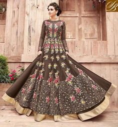aff4c40fe3 Shop chocolate brown Zoya engaged reception & party women desi gown suit  PFENG21004