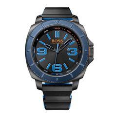 Relógio Hugo Boss Masculino Borracha Preta e Azul - 1513108