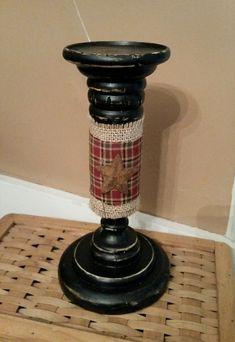 Primitive Vintage Look Tapered Candleholder Rustic Wooden Shelf Sitter Country