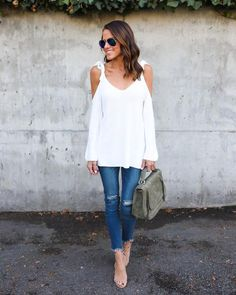 Celeste Cotton Cold Shoulder Sweater