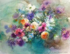 Artist Yuko Nagayama, #watercolor #flowers #painting #brightcolor