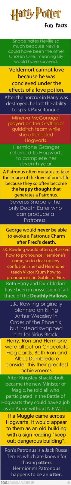 Harry Potter fun facts, soon to be added to the tons of Potter truths already in my head, lol.
