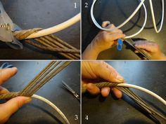 ручка из телевизионного кабеля 6мм, оплетенная трубочками. – 2 фотографии