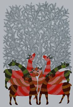 Deer by Rajendra Shyam, Gond art of India