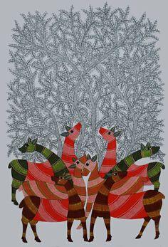 Deer by Rajendra Shyam, Gond art of India