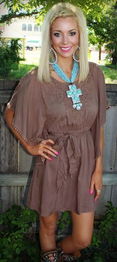Get 10% off with code KELSEYR10 at checkout! Mocha Embroidered Tie Waist Dress - The Lace Cactus