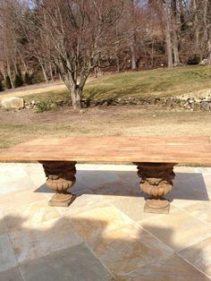 """New"" outdoor dining table - reclaimed wood and urn base."