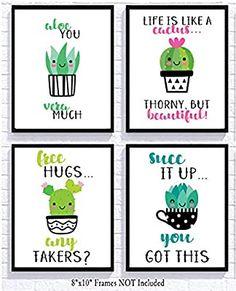 Adorable Cactus Succulent Uplifting Wall Art Decor Sayings (Set of Four) Prints Kawaii Cutesy Cheery Silly Goose Gifts Cactus Wall Art, Cactus Decor, Classroom Posters, Classroom Themes, Cactus Photography, Card Sayings, Digital Print, Watercolor Cactus, Kawaii