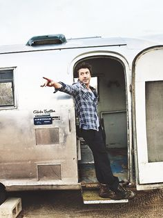 Could this be a young Robert Downy Jr!? In an Air Stream to boot!