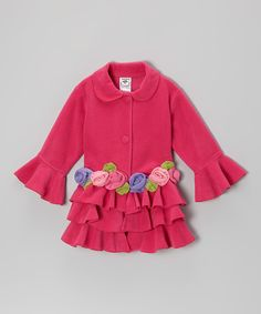 Love this Fuchsia Tiered Ruffle Rose Jacket - Infant & Toddler by Mulberribush on #zulily! #zulilyfinds