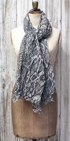 We sell shades of grey (50?) better than any other colour here at Knot Only so we couldn't resist this delicate snake print scarf from Stylesnob in 2 shades of grey, it has a crinkle cotton mix texture and a raw edge and will make the perfect addition to your wardrobe. #scarf #wrap #animalprint #fashion
