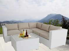 Ellana 5 Seat Corner Outdoor Lounge Set in White Outdoor Lounge, Outdoor Living, Outdoor Decor, Modular Lounges, Lounge Suites, Outdoor Wicker Furniture, White Cushions, Furniture Direct