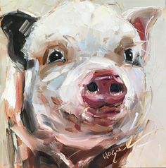 """""""ORIGINAL CONTEMPORARY PIG PAINTING in OILS by OLGA WAGNER - 12 DAYS OF GREY"""" original fine art by Olga Wagner"""