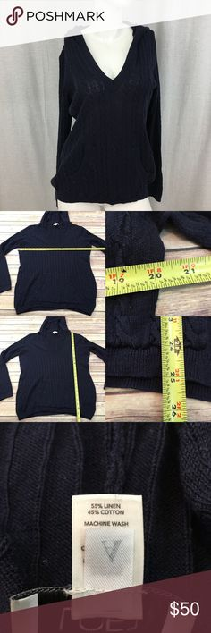 💜Large LOFT Navy Blue Cable Knit Hooded Sweater Measurements are in photos. Normal wash wear, no flaws. A4/44  I do not comment to my buyers after purchases, due to their privacy. If you would like any reassurance after your purchase that I did receive your order, please feel free to comment on the listing and I will promptly respond.   I ship everyday and I always package safely. Thank you for shopping my closet! LOFT Sweaters V-Necks