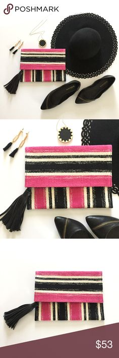 Rebecca Minkoff Serra Foldover Clutch Pink and black Serra foldover clutch by Rebecca Minkoff. Made of cotton with tassel detail. Fold-over with magnetic snap closure. Lined interior. Interior slip pocket. Three interior credit card slots. Approximately 10.5x8 Rebecca Minkoff Bags Clutches & Wristlets