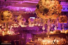 """Lighing can be a focal point for """"tablescape"""" by creating a mood or color scheme..  It is still seen after guests arrive.  david tutera wedding decorations   David Tutera   Wedding Ideas"""