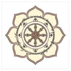 wheel of dharma pictures | Dharma Wheel with Lotus Flowe Wall Art Poster