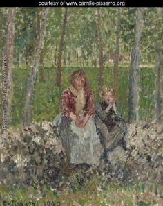 Paysannes Sous Les Arbres A Moret - Camille Pissarro - www.camille-pissarro.org