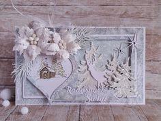 Papierowe chwile zielonejliszki, Christmas card with ornament, Cristmas tree, white flowers