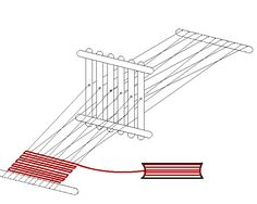Popsicle stick loom in use