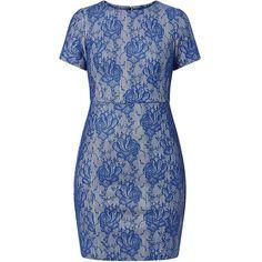 Blue Floral Lace Pencil Dress ($16) ❤ liked on Polyvore featuring dresses, blue, blue evening dresses, floral midi dress, midi cocktail dress, short sleeve lace dress and blue cocktail dresses