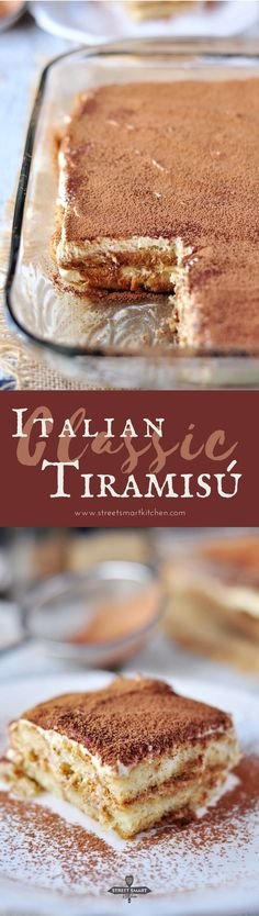 Classic Italian Tiramisu Recipe When the original can't really be improved, it's a classic. This Classic Italian Tiramisu is one of these classics. Watch our video to learn how to make it. Italian Tiramisu, Italian Desserts, Just Desserts, Italian Recipes, Delicious Desserts, Yummy Food, Cake Recipes, Dessert Recipes, Lunch Recipes