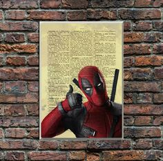 Dead Pool Poster/DeadPool Wall Print/Comics Retro Print/Retro Poster/Book Page/Dictionary Page Print/Quote Poster/Vintage Quote Posters, Quote Prints, Wall Prints, Book Page Art, Book Pages, Poster Vintage, Retro Vintage, Frame Download, Dead Pool