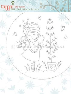 Embroidery Pattern Instant Download Shy Fairy von TamarNahirYanai